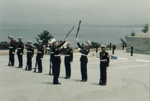 ... complete with the USMC Silent Drill Team